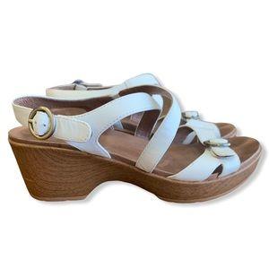 DANSKO Julie White Leather Wedge Sandals Clogs